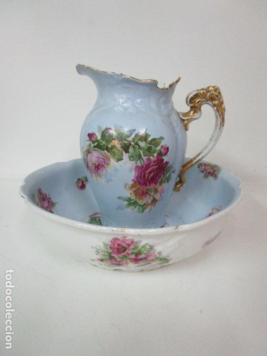 Antigüedades: Precioso Aguamanil Modernista - Palangana y Jarra - Porcelana Esmaltada - Foto 32 - 178609373