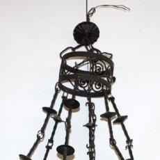 Antigüedades: LAMPARA DE AÑOS 30 (ART-DECO) EN FORJA Y PLAFON DE VIDRIO PRENSADO FIRMADO MULLER FRÈRES LUNEVILLE. Lote 178637602