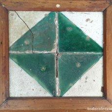 Antigüedades: COMPOSICIÓN DE 4 AZULEJOS DE CARTABÓN. CERÁMICA CATALANA. SIGLO XVIII.. Lote 178639097