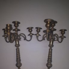 Antigüedades: CANDELABROS TIPO BRONCE. Lote 178655700