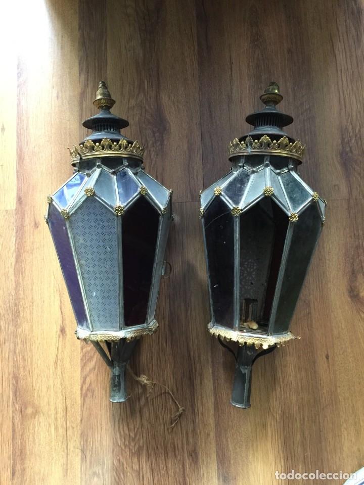 FAROLES ANTIGUOS DE PROCESIÓN. DE LATÓN, HIERRO Y VIDRIO SOPLADO. (Antigüedades - Religiosas - Ornamentos Antiguos)