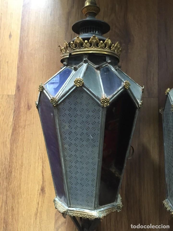 Antigüedades: Faroles antiguos de procesión. De latón, hierro y vidrio soplado. - Foto 3 - 178657826