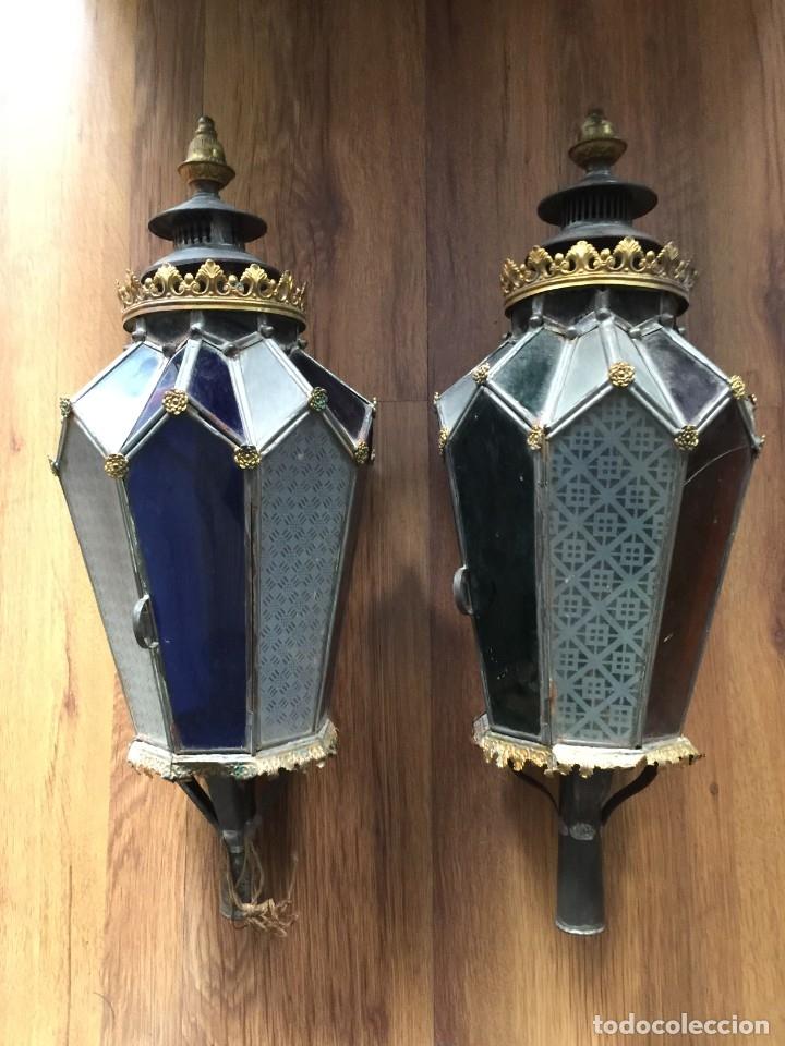 Antigüedades: Faroles antiguos de procesión. De latón, hierro y vidrio soplado. - Foto 4 - 178657826