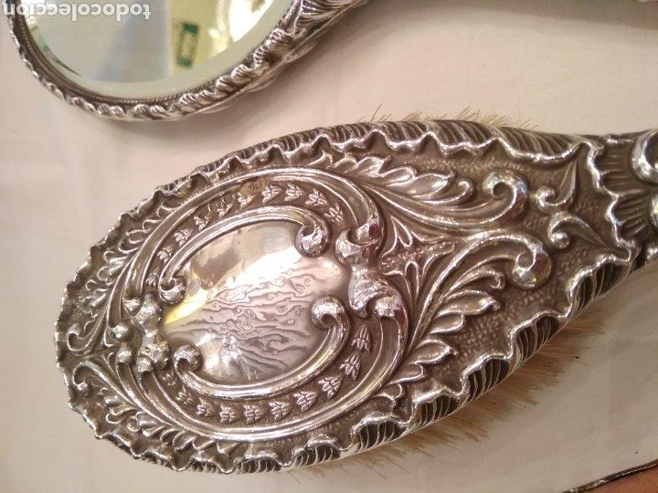 Antigüedades: Juego de tocador Set de 6 piezas, plata de ley siglo XIX - Foto 3 - 178668587