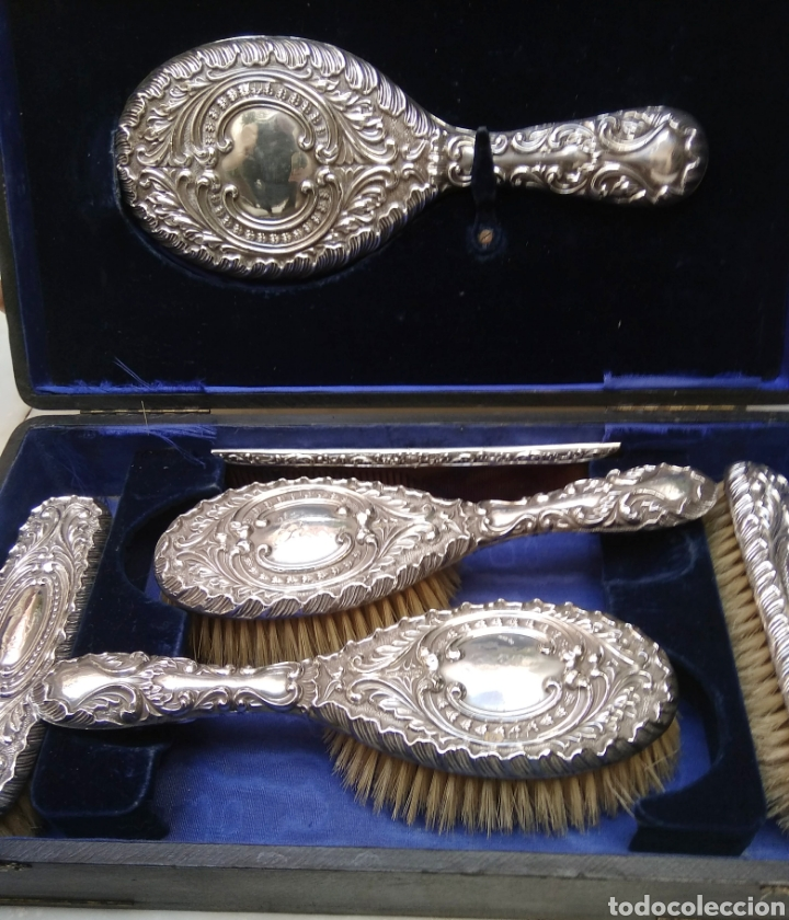 Antigüedades: Juego de tocador Set de 6 piezas, plata de ley siglo XIX - Foto 9 - 178668587