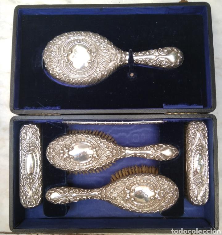 Antigüedades: Juego de tocador Set de 6 piezas, plata de ley siglo XIX - Foto 12 - 178668587