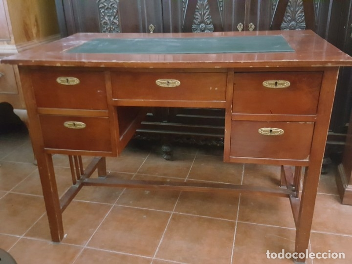 Antigüedades: Mesa de despacho modernista para restaurar. - Foto 2 - 178708836