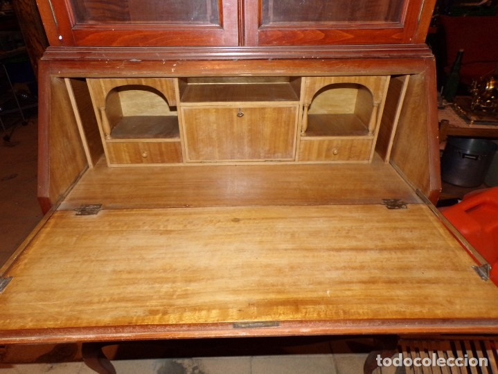 Antigüedades: mueble vitrina escritorio libreria estilo ingles recogida provincia barcelona - Foto 4 - 203410105