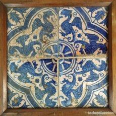 Antigüedades: CONJUNTO DE AZULEJOS GÓTICOS. CERÁMICA ESMALTADA. CATALUNYA. ESPAÑA. XV-XVI. Lote 178774327