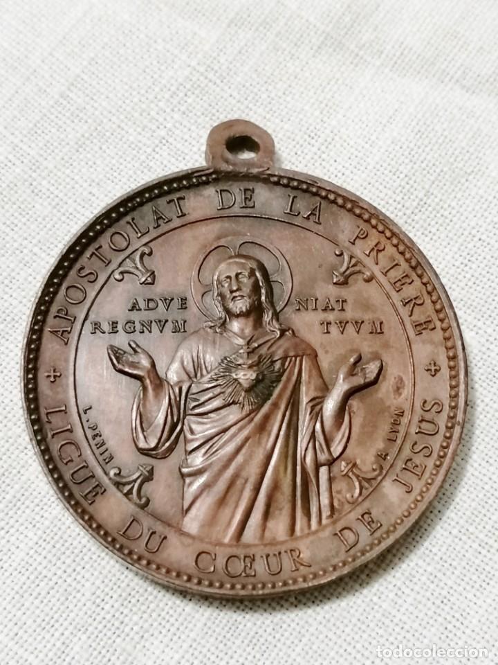 ANTIGUA MEDALLA RELIGIOSA DE CORAZON DE JESUS EN COBRE. (Antigüedades - Religiosas - Medallas Antiguas)