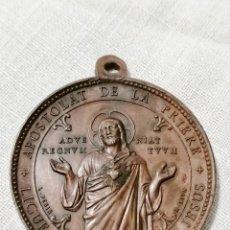 Antigüedades: ANTIGUA MEDALLA RELIGIOSA DE CORAZON DE JESUS EN COBRE.. Lote 178777553