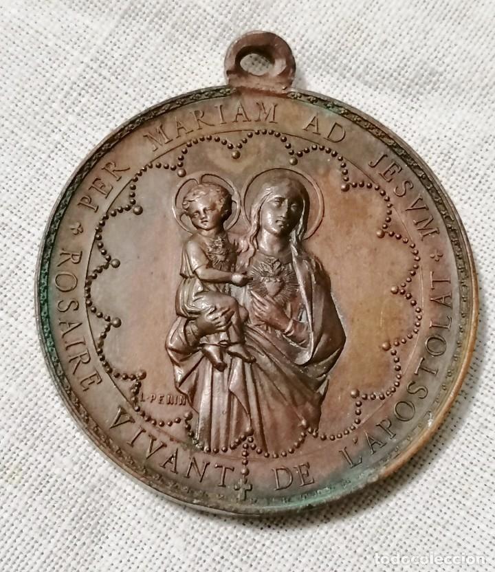 Antigüedades: Antigua medalla religiosa de corazon de jesus en cobre. - Foto 2 - 178777553