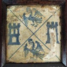 Antigüedades: AZULEJO GÓTICO. ESCUDO HERÁLDICO. CERÁMICA ESMALTADA. MANISES (?). ESPAÑA. XV-XVI. Lote 178793887