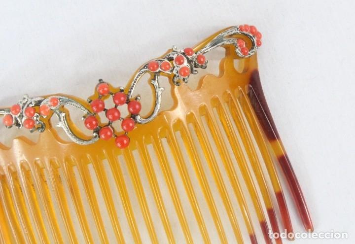Antigüedades: Preciosa peineta pps s XX. Coralinas. - Foto 2 - 178843101