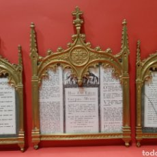 Antigüedades: JUEGO DE SACRAS DE BRONCE DORADO, NEOGOTICAS. CIRCA 1900.. Lote 178853820