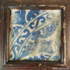 Antigüedades: AZULEJO GÓTICO. CERÁMICA ESMALTADA EN AZUL. CATALUNYA. ESPAÑA. SIGLOS XV-XVI. Lote 178857427