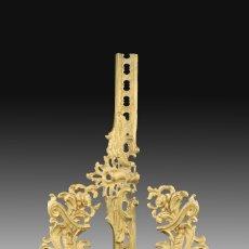 Antigüedades: PAREJA DE MORILLOS CON FRENTE. BRONCE, HIERRO. FRANCIA, SIGLO XIX.. Lote 178860438