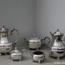 Antigüedades: JUEGO CAFE TE CINCO PIEZAS BAÑO PLATA SELLO ROYAL SABLE SILVER PLATE ON COPPER WARES (PVT.) LT. Lote 178864621