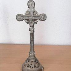 Antigüedades: ANTIGUA CRUZ O CRUCIFIJO DE METAL, PLOMO.. Lote 178864650