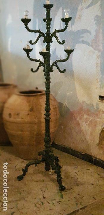 FAROLA JARDÍN LÁMPARA 7 FAROLES HIERRO FUNDIDO (Antigüedades - Muebles Antiguos - Auxiliares Antiguos)