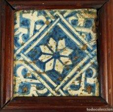 Antigüedades: AZULEJO GÓTICO. CERÁMICA ESMALTADA EN AZUL. CATALUNYA. ESPAÑA. SIGLOS XV-XVI. Lote 178870920