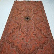 Antigüedades: ANTIGUO MANTON DE LANA CON FABRICANTE SIGNO 360X151CM. Lote 178878122