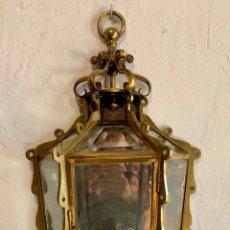 Antigüedades: APLIQUE DE PARED EN BRONCE Y CRISTALES BISELADOS. ( 3 UNIDADES DISPONIBLES). Lote 178883525