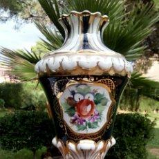 Antigüedades: JARRON FRANCES. VIEJO PARIS. VERDE Y ORO DE LEY. SELLADO. DE GRAN BELLEZA.. Lote 178886268