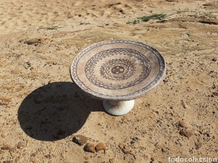 Antigüedades: MESA BEREBER DE CERÁMICA - BARRO - SUPERFICIE PINTADA - DECORACIÓN GEOMÉTRICA -ÁFRICA -SXIX - Foto 2 - 178910731