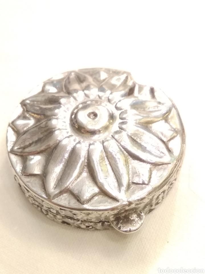 Antigüedades: Cajita pastillero plata de ley siglo XX - Foto 6 - 178923006