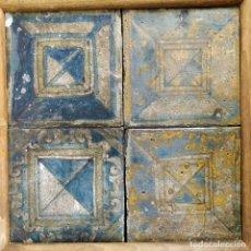 Antigüedades: CONJUNTO DE AZULEJOS RENACENTISTAS. CERÁMICA. PALACIO EPISCOPAL. BARCELONA. ESPAÑA. CIRCA 1505. Lote 178958630