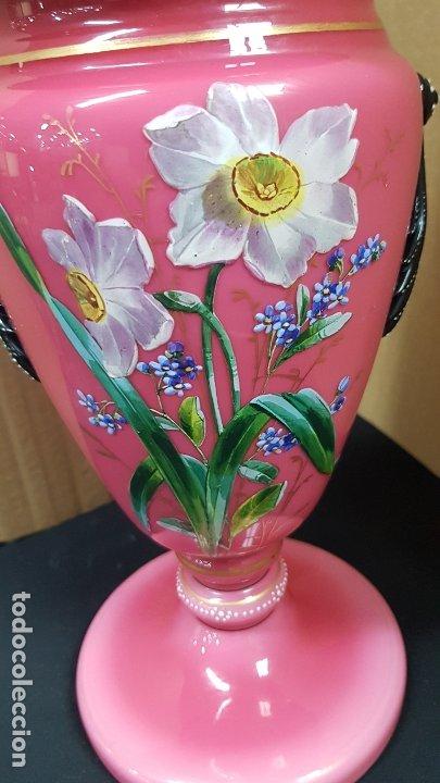 Antigüedades: impresionante quinque en opalina rosa pintado a mano principio siglo xx cristal modernista - Foto 3 - 178968168