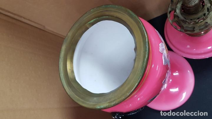 Antigüedades: impresionante quinque en opalina rosa pintado a mano principio siglo xx cristal modernista - Foto 8 - 178968168
