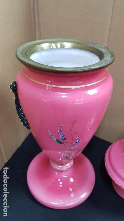 Antigüedades: impresionante quinque en opalina rosa pintado a mano principio siglo xx cristal modernista - Foto 9 - 178968168