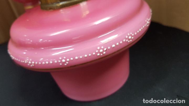 Antigüedades: impresionante quinque en opalina rosa pintado a mano principio siglo xx cristal modernista - Foto 12 - 178968168