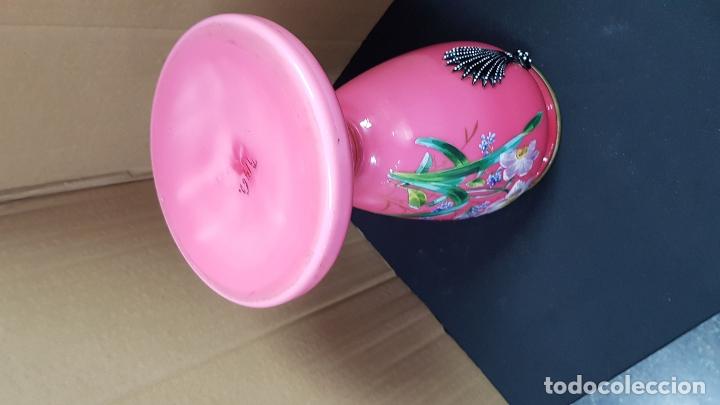 Antigüedades: impresionante quinque en opalina rosa pintado a mano principio siglo xx cristal modernista - Foto 16 - 178968168