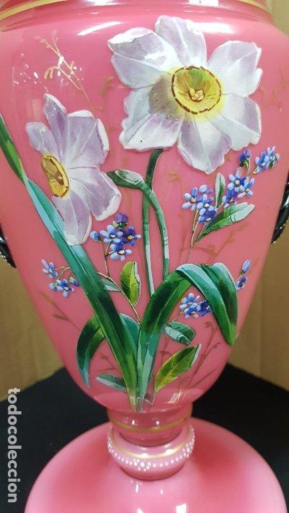 Antigüedades: impresionante quinque en opalina rosa pintado a mano principio siglo xx cristal modernista - Foto 19 - 178968168