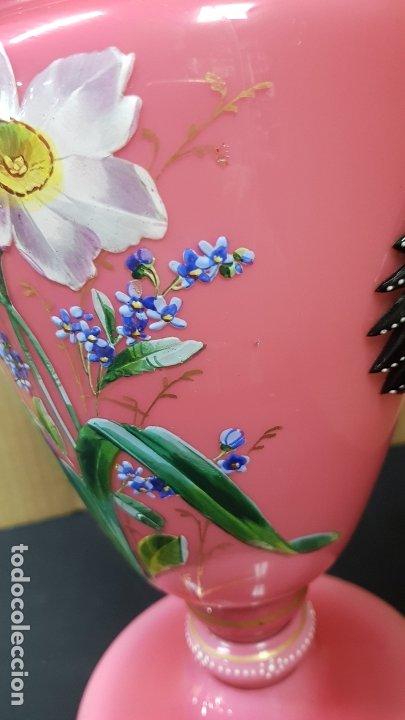 Antigüedades: impresionante quinque en opalina rosa pintado a mano principio siglo xx cristal modernista - Foto 20 - 178968168