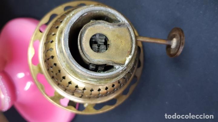 Antigüedades: impresionante quinque en opalina rosa pintado a mano principio siglo xx cristal modernista - Foto 26 - 178968168