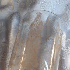Antigüedades: VASO CRISTAL GRAVADO SOUVENIR LOURDES. Lote 178973366
