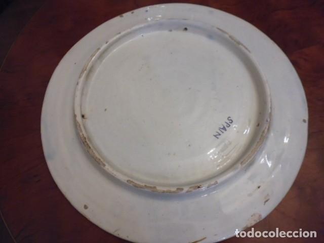 Antigüedades: CERAMICA-LOZA 41 CMS. X 3,5 GRAN BANDEJA, PLATO MURAL,PROBABLE MANISES DECADA DE LOS 40-50 - Foto 10 - 202937783