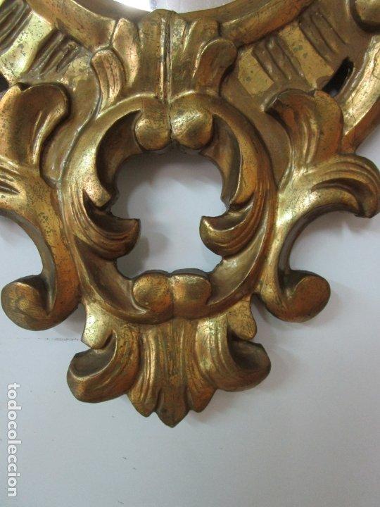 Antigüedades: Bonita Cornucopia - Madera Tallada y Dorada en Pan de Oro - Espejo Antiguo Plateado - S. XIX - Foto 3 - 179020340