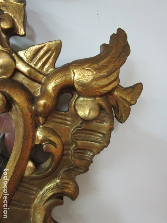 Antigüedades: Bonita Cornucopia - Madera Tallada y Dorada en Pan de Oro - Espejo Antiguo Plateado - S. XIX - Foto 5 - 179020340