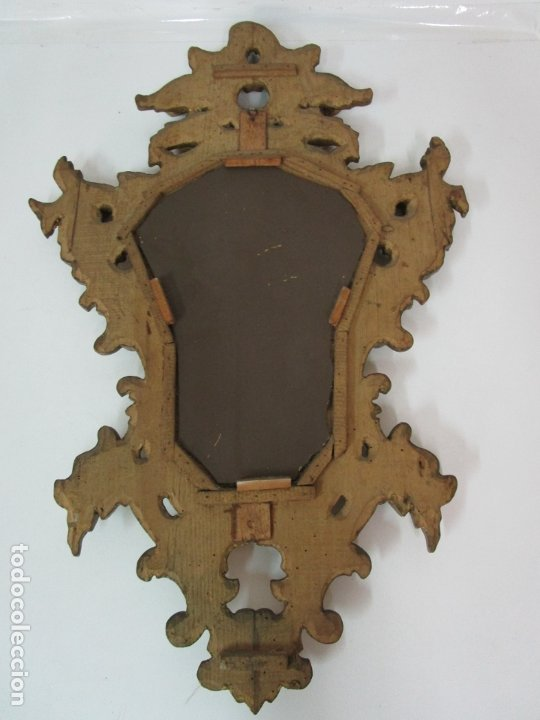 Antigüedades: Bonita Cornucopia - Madera Tallada y Dorada en Pan de Oro - Espejo Antiguo Plateado - S. XIX - Foto 9 - 179020340