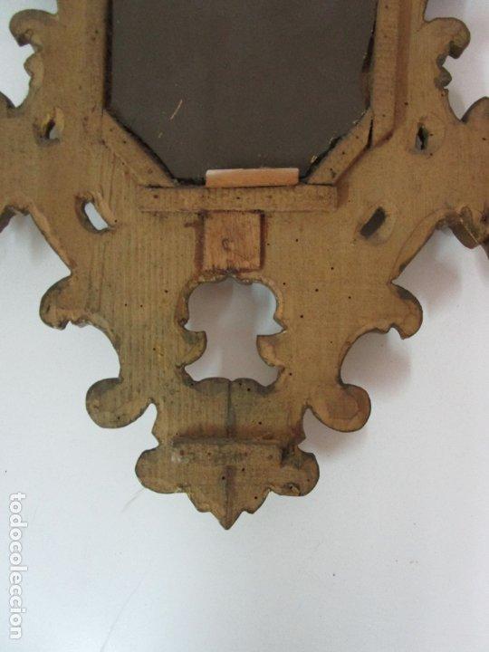 Antigüedades: Bonita Cornucopia - Madera Tallada y Dorada en Pan de Oro - Espejo Antiguo Plateado - S. XIX - Foto 10 - 179020340
