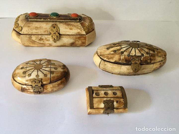 Antigüedades: Cajas cajitas joyero de hueso y bronce de colección, varios tamaños - Foto 5 - 179042260