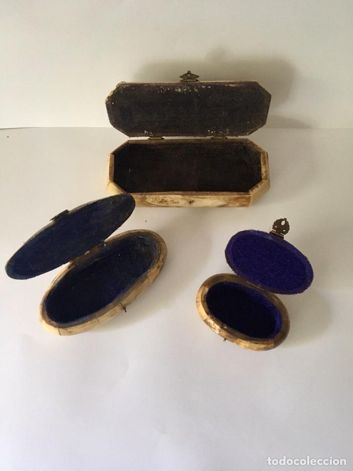 Antigüedades: Cajas cajitas joyero de hueso y bronce de colección, varios tamaños - Foto 9 - 179042260