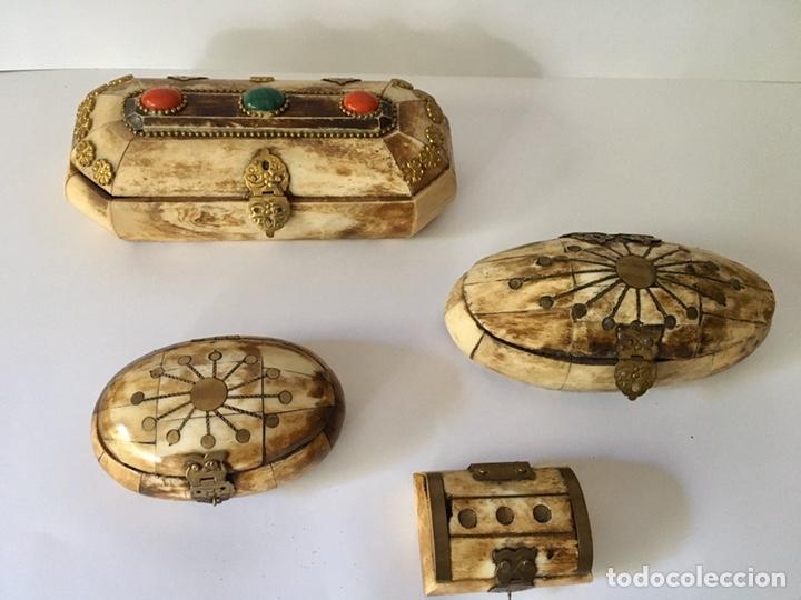 CAJAS CAJITAS JOYERO DE HUESO Y BRONCE DE COLECCIÓN, VARIOS TAMAÑOS (Antigüedades - Hogar y Decoración - Cajas Antiguas)