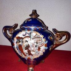 Antigüedades: BOMBÓNERA DE PORCELANA CHINA PINTADA A MANO. Lote 179045857