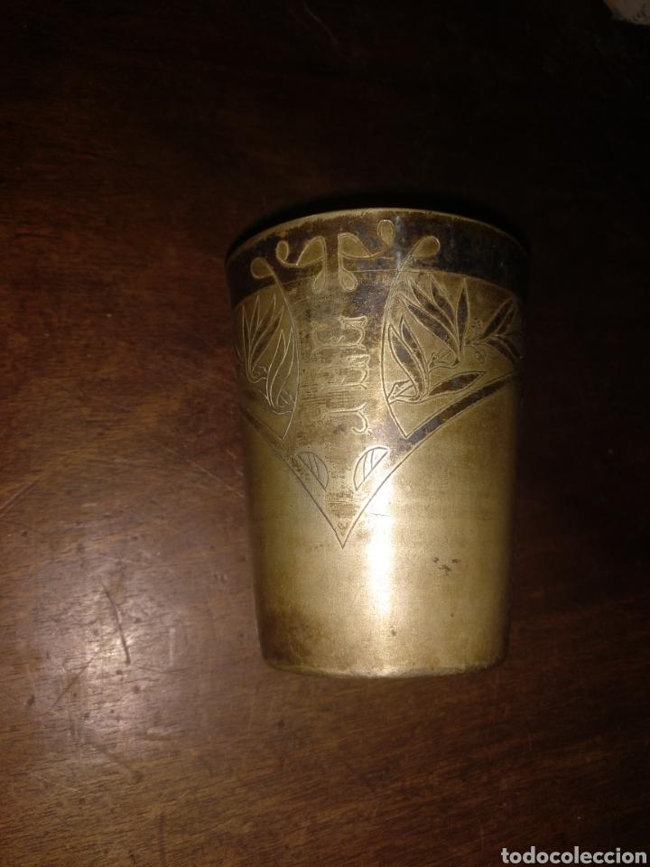 Antigüedades: Vaso plata cincelado con iniciales. Meneses Madrid - Foto 2 - 179048518